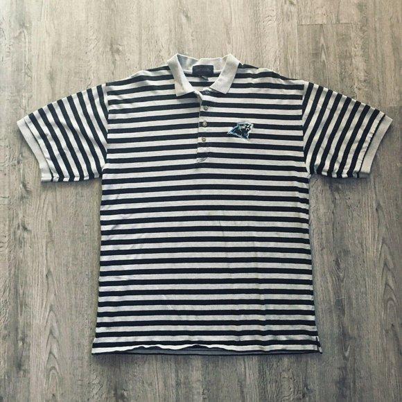 Antigua Black /& Gray Stripe Embroidered Carolina Panthers Logo XL Polo